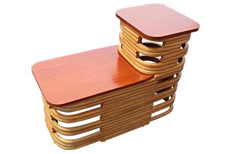 ラタン マホガニートップ ステップエンドテーブル