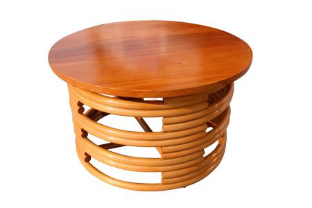 ラタン マホガニートップ ラウンド コーヒーテーブル
