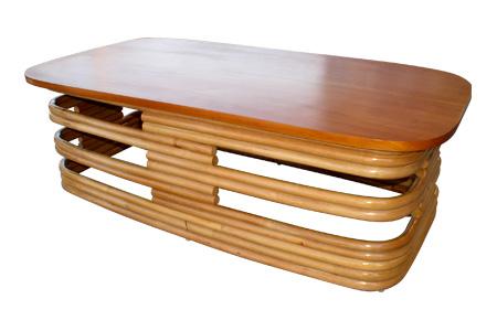 ラタン マホガニートップ スタック レクタングラーテーブル