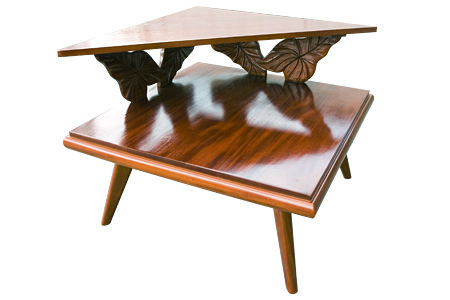 アカシアウッドロイヤルカービングコーナーテーブル