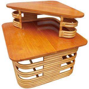 ラタン マホガニートップ コーナーテーブル