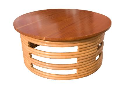 ラタン マホガニートップ ラウンド コーヒーテーブル 900