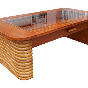 ラタン マホガニー グラストップ コレクション コーヒーテーブル