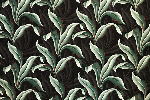 Retro Leaves Black